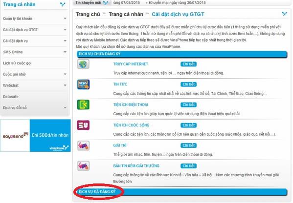 Cách kiểm tra dịch vụ Vinaphone nào đã đăng ký.