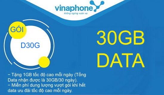 Hướng dẫn đăng ký gói cước D30G Vinaphone.