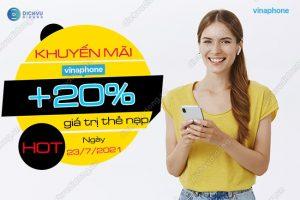 VinaPhone khuyến mãi 20% giá trị thẻ ngày 23/7/2021 trên toàn quốc